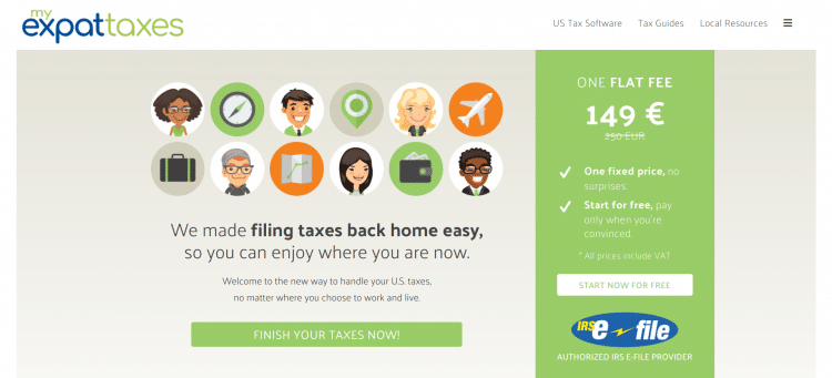 My Expat Taxes website landing page
