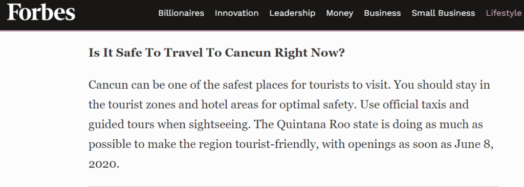 Forbes quote on Mexico travel and coronavirus