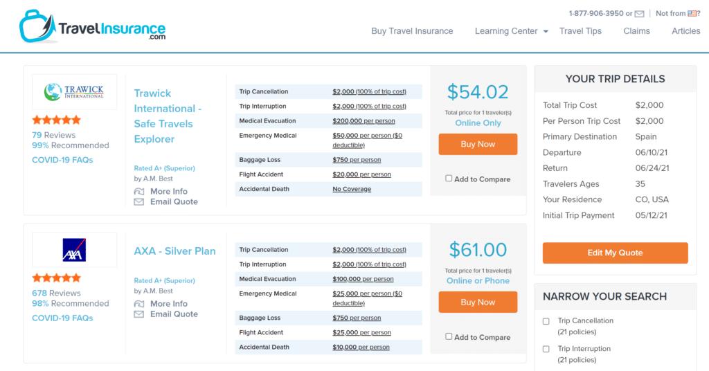 Screenshot of TravelInsurance portal