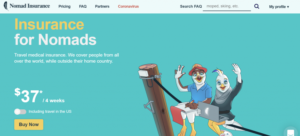 "SafetyWing homepage, describing it as ""Insurance for Nomads"""