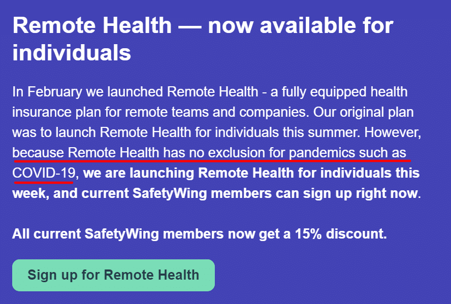 SafetyWing Remote Health