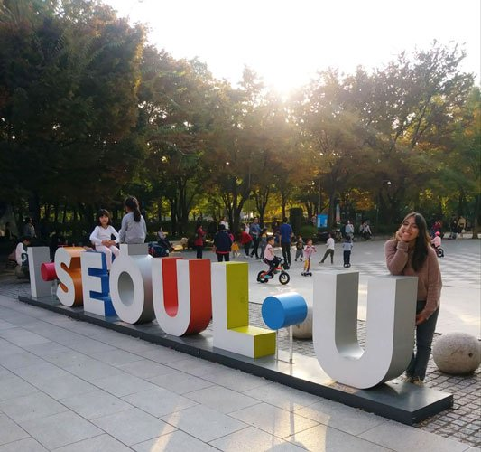 View of the author in a park in Seoul