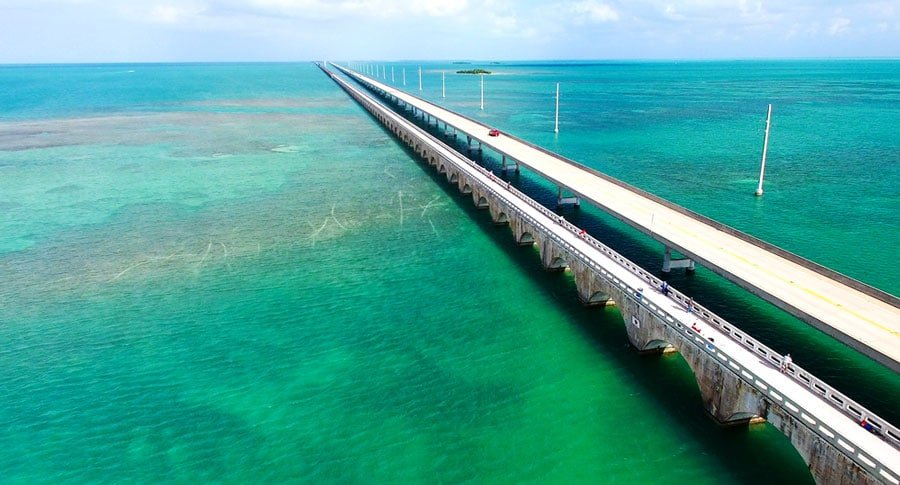 The Seven Mile Bridge and the blue green water around it