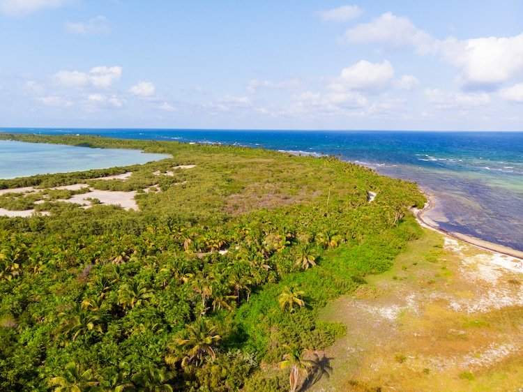 Aerial view of Sian Kaan Biosphere Reserve, Quintana Roo, Mexico with ocean, beach, and jungle