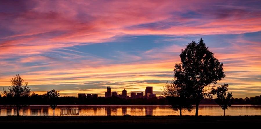 View of sunrise over Sloan's Lake in Denver