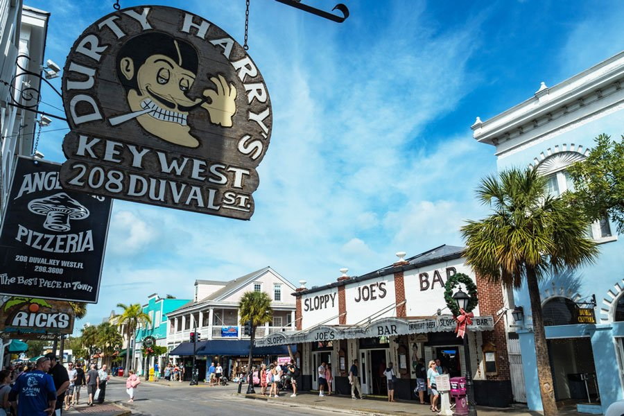 View of the Sloppy Joe's Bar from the outside in Duval Street