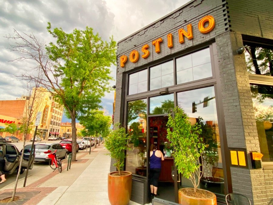 View of the exterior of Postino restaurant in South Broadway Denver
