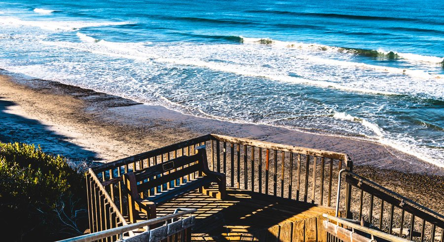 View of the stairway leading to South Carlsbad State Beach