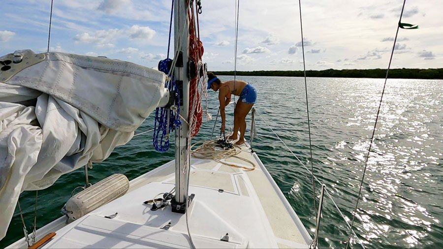 View of the author's wife sailing in South Florida Coast