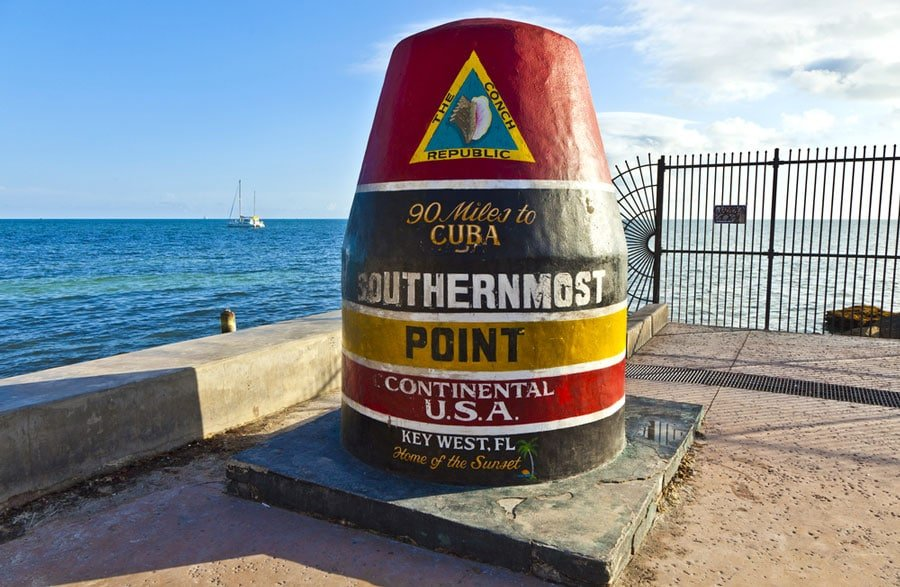 View of the point marker of the southernmost point of Key West