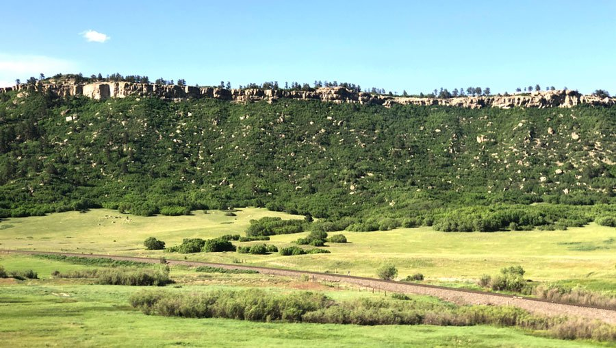 View of the Spruce Mountain Open Space & Trail from afar