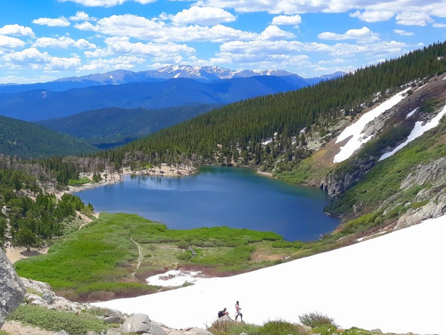 View of St Mary's Glacier from the hiking trail above