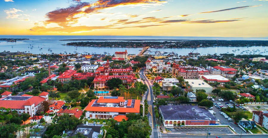 Aerial view of St. Augustine from a drone shot