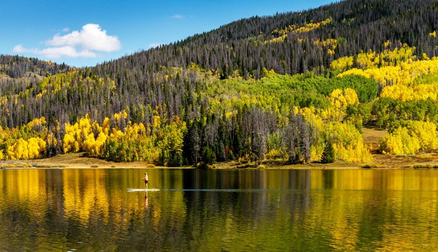 View of steamboat springs during fall season