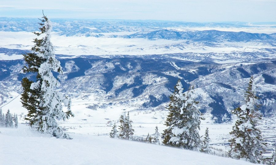 View of snowy mountains in Steamboat Springs