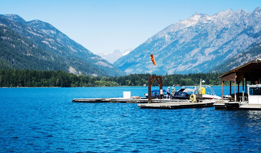 View of a boat landing at Stehekin in Lake Chelan