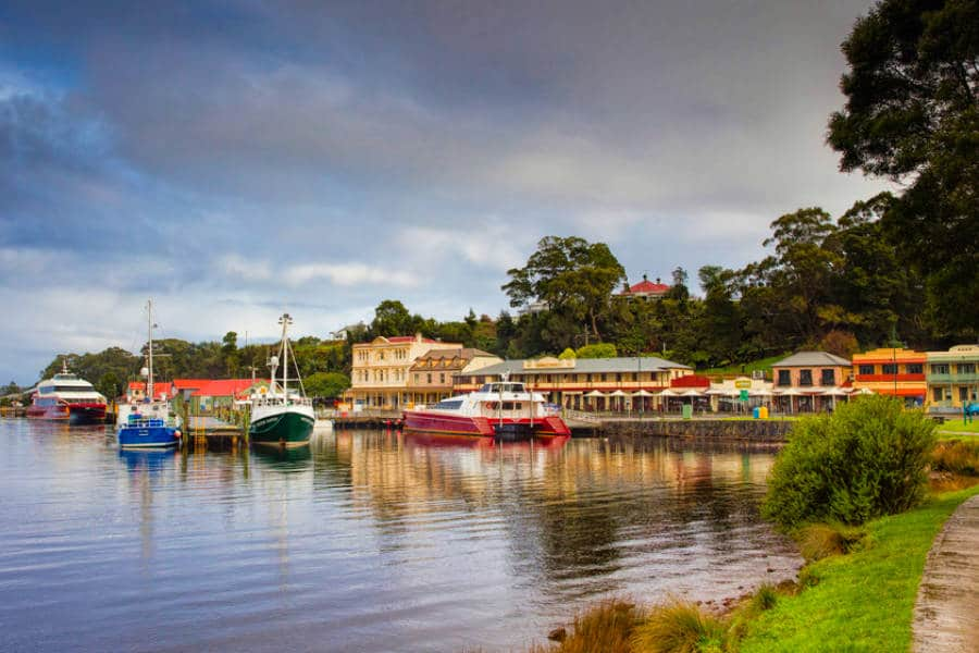 Boats in Strahan on your Tasmania Itinerary