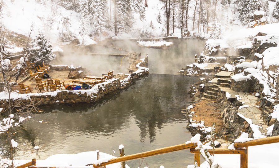 View of Strawberry Park Hot Springs during winter