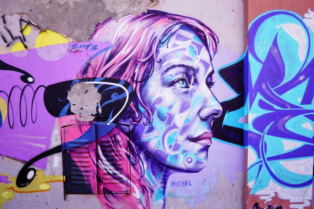 Purple street art in Belgrade
