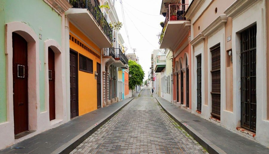 View of colorful houses in the historic city of Old San Juan