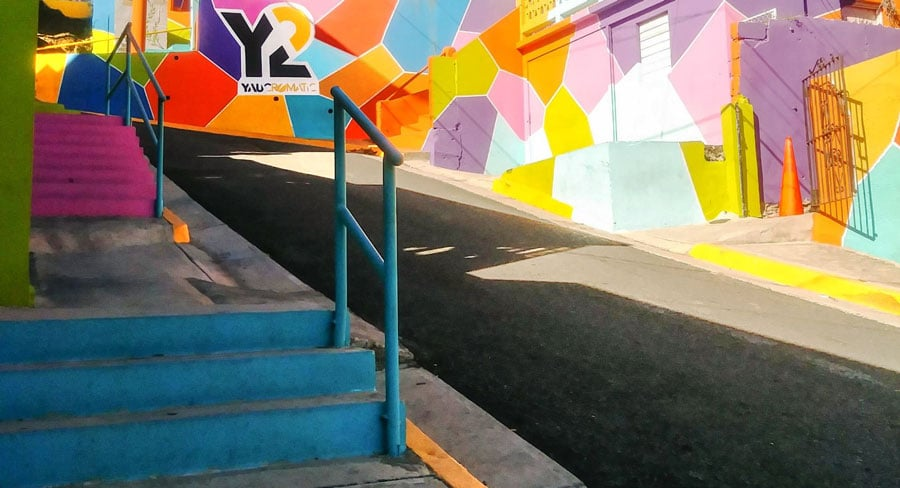 View of a colorful street in Puerto Rico