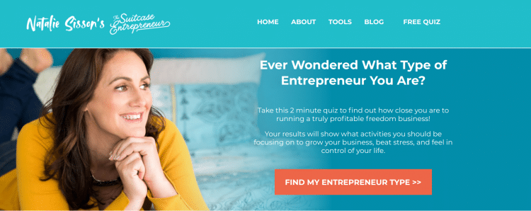 Natalie Sisson/The Suitcase Entrepreneur digital nomad website landing page