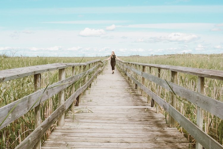 Taylor stands on a boardwalk surrounded by tall green grass at Hecla Provincial Park in Manitoba Canada
