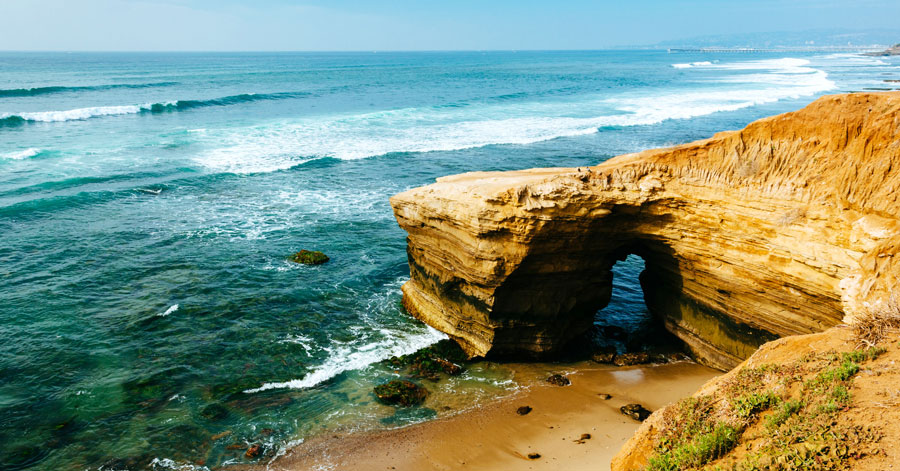 View of cliff and cave in Sunset Cliffs