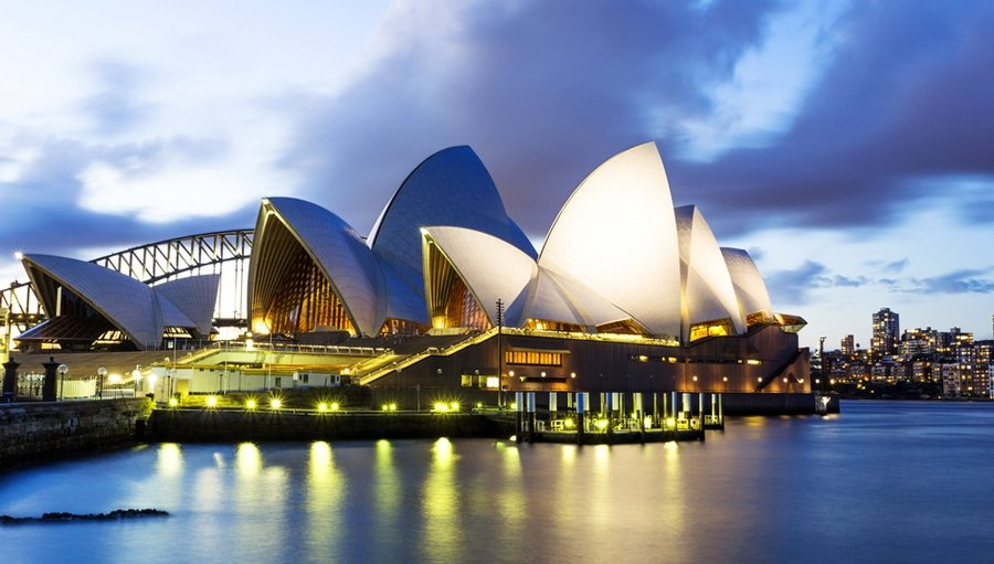 View of the famous Sydney Opera House in Australia