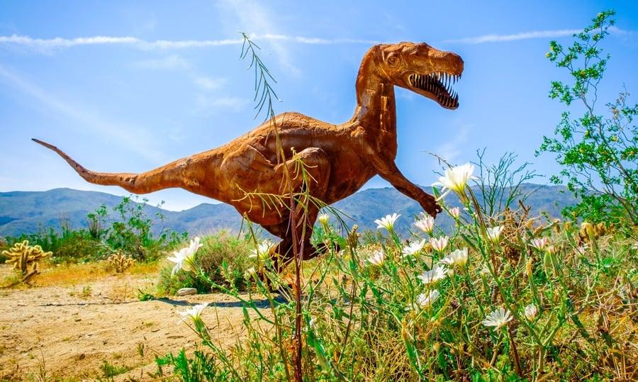 View of an amazing T-rex metal sculpture piece in Anza Borrego Desert State Park