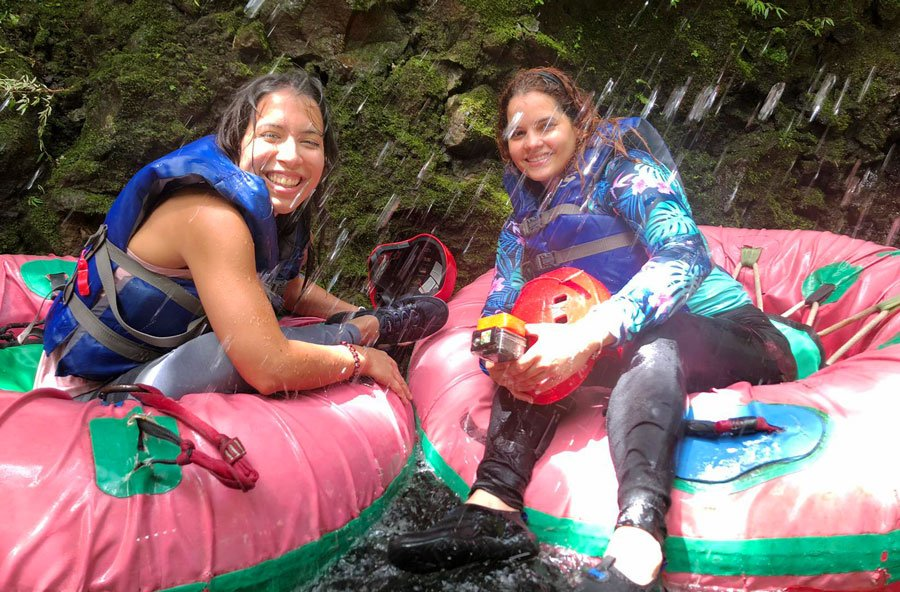 View of the author and her friend trying out tubing in Tanama River