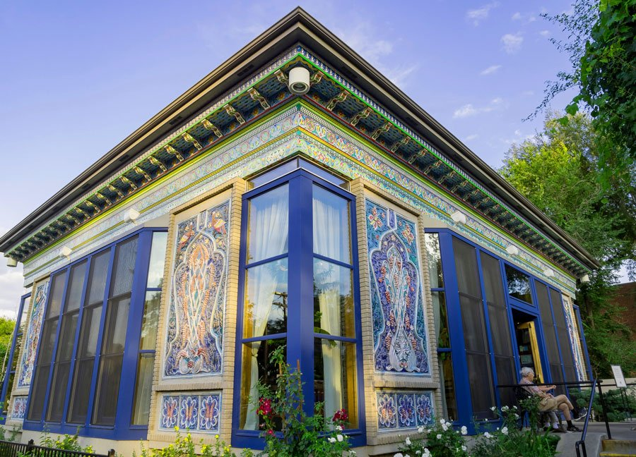 View of the Boulder Dushanbe Teahouse outside during afternoon