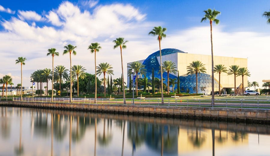 View of The Dali Museum and a line of palm trees across it