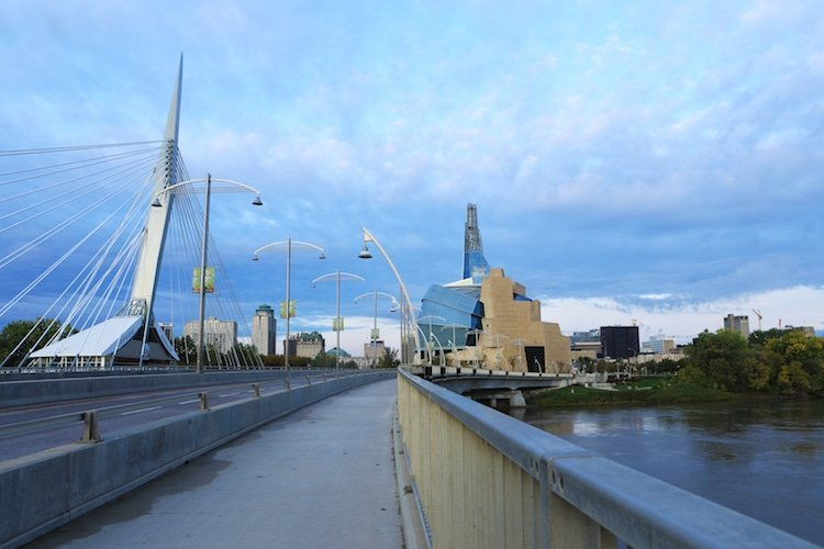 The Museum for Human Rights and Bridge at dusk, Winnipeg