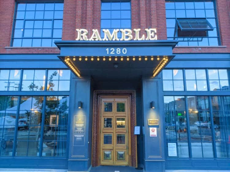 View of the doors at The Ramble hotel in Denver Colorado