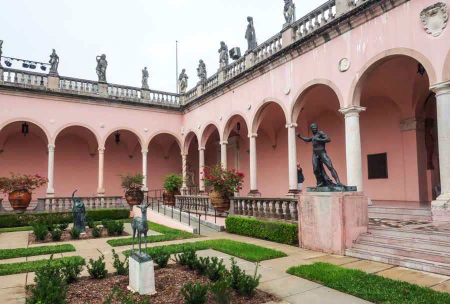 View of the sculptures in John & Mable Ringling Museum of Art from the outside