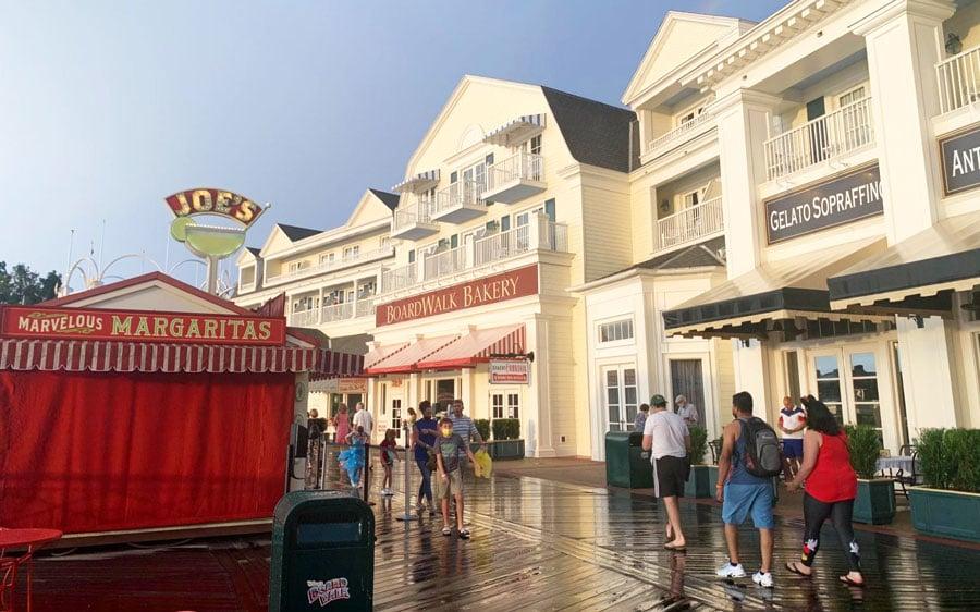 View of people roaming around in Disney's Boardwalk Inn