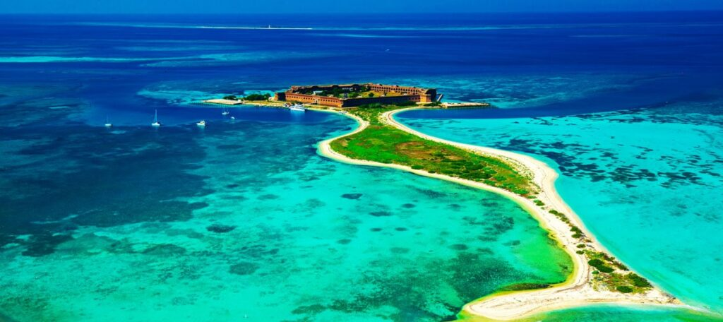 Aerial view of Fort Jefferson, one of the best attractions in the state of Florida