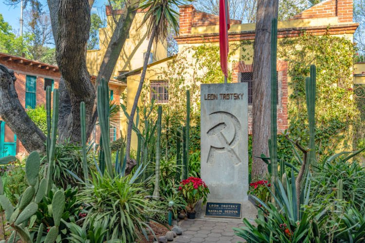View of monument in interior courtyard at the Trotsky Museum in Mexico City