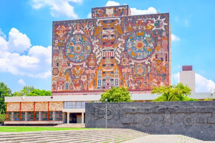The mosaic outside of the Central Library at the National Autonomous University of Mexico