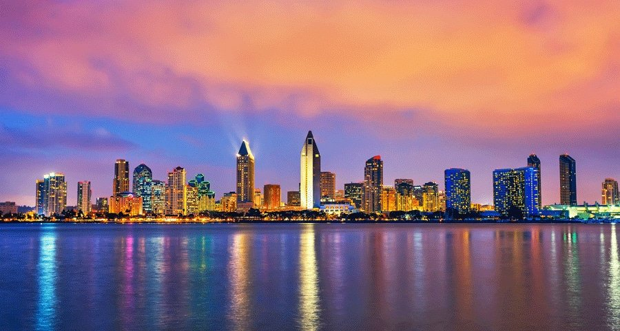 Scenic view of San Diego, California at night