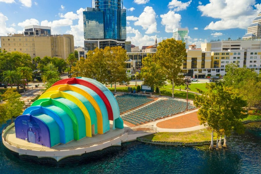 Aerial view of the colorful Lake Eola amphitheaterin Orlando FL