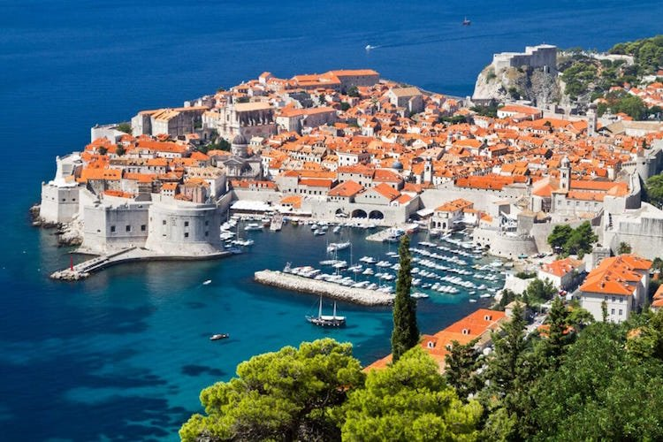 An aerial shot of downtown Dubrovnik, Croatia, surrounded by the Adriatic Sea