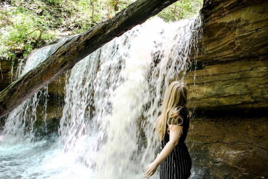 View of the author admiring the Tioga Falls