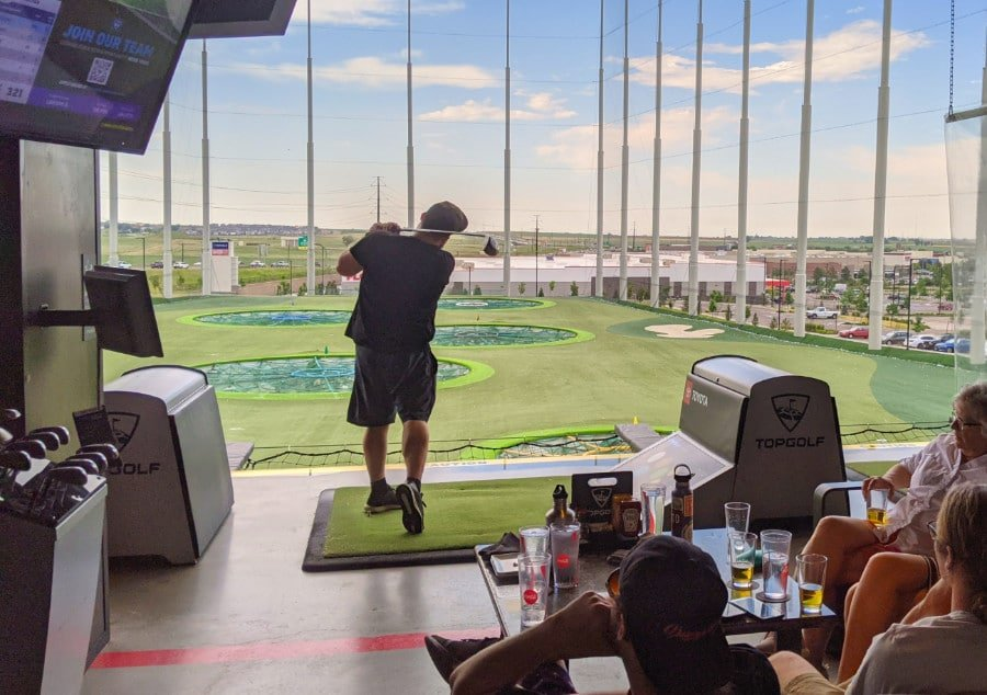 View of a golfer at Top Golf