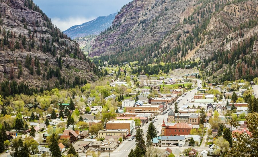 View of Ouray Town and the rocky mountains around it