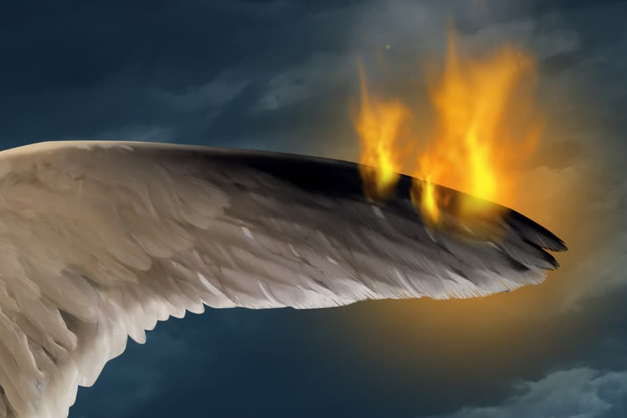 A burning wing
