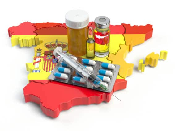 Map of Spain with medicine