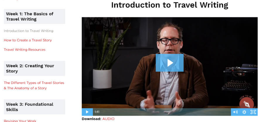 How to Become a Travel Writer Course Screenshot