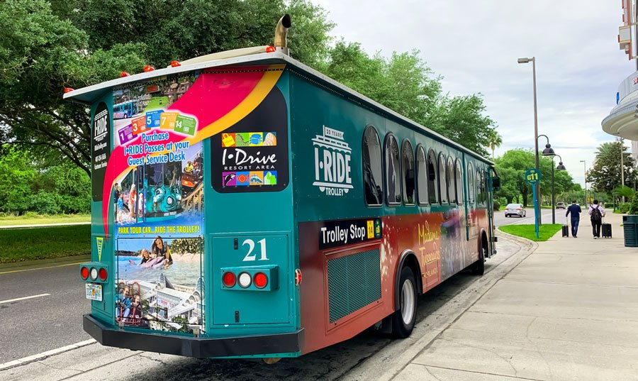 View of a green Orlando Trolley Service